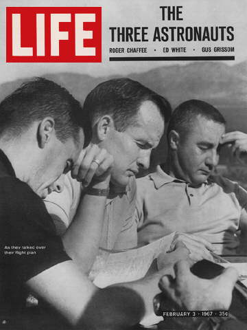 ASTRONAUTS ROGER CHAFEE, ED WHITE AND GUS GRISSOM