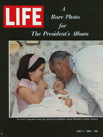 PRESIDENT JOHNSON, DAUGHTER LUCI, AND GRANDSON PATR