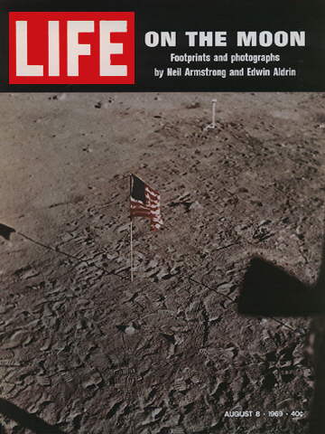 FLAG AND FOOTSTEPS ON THE MOON